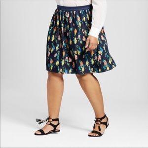 Merona Pleated Floral Midi Skirt Size Medium